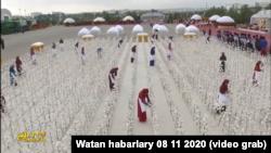 Искусственное хлопковое поле в Туркменистане - инсталляция в честь праздника урожая. Фото из репортажа государственного телевидения.