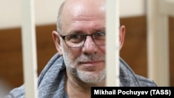 Aleksei Malobrodsky, former art director of the Gogol Center theater, attends a court hearing in Moscow on June 21.