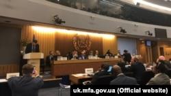 Министр инфраструктуры Украины Владислав Криклий на открытии 31-й сессии Ассамблеи IMO, Лондон, Великобритания, 25 ноября 2019 года