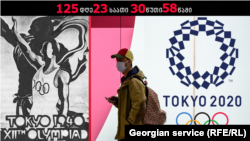 Мужчина в маске проходит мимо эмблемы летних Олимпийских игр в Токио. Япония, Токио, март 2020 года.