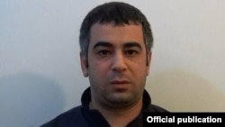 Armenia - Hovannes Muradian, a man suspected of throwing a hand grenade towards former President Robert Kocharian's house, is pictured shortly after is arrest in Yerevan, 18Apr2016.