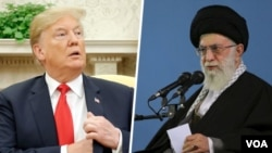File photos - Donald trump and Ayatollah Ali Khamenei