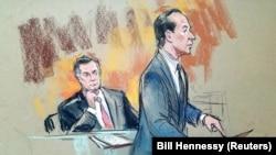 Пол Манафорт во время судебного заседания 14 сентября 2018 года (рисунок судебного художника)