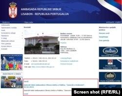 Sporni tekst još uvek se nalazi na sajtu srpske Ambasade u Portugalu (14. 2. 2019.)