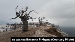 "Скульптура Даши Намдакова ""Хранитель Байкала"" на мысе Хобой на острове Ольхон"