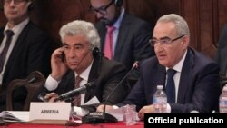Italy - Galust Sahakian (R), Armenian Parliament Speaker, and Constitutional Court Chairman Gagik Harutiunian are attending the Venice Commission's meeting, Venice,23Oct,2015