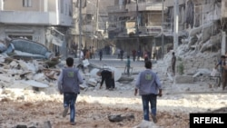 The Syrian city of Aleppo after air strikes carried out by government and Russian warplanes on October 14.