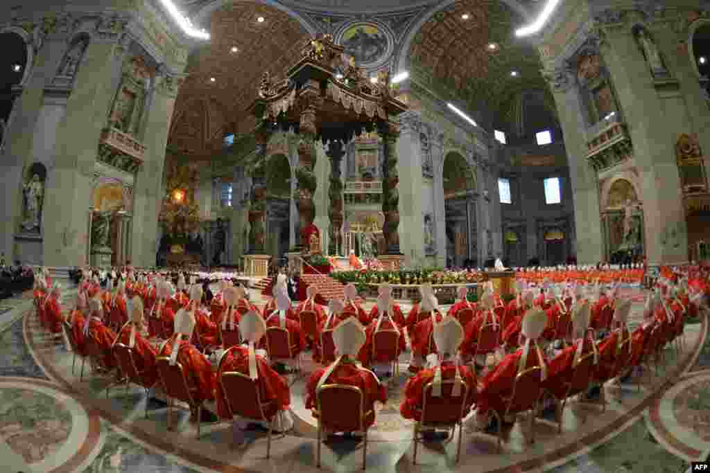 Cardinals attend a Mass on March 12 at St. Peter's Basilica before the start of the conclave to elect a new pope at the Vatican. (AFP/Gabriel Bouys)