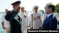 Дмитрий Медведев на Дне Военно-морских сил России. Севастополь, 28 июля 2019 года