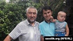 Uzbekistan - Uzbek writer Hurullo Otaxonov and his son Fayzulla Otaxonov
