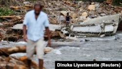 Շրի-Լանկայի գյուղերից մեկը ջրհեղեղից հետո, 28-ը մայիսի, 2017թ․