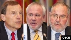 Austria -- A combo photo shows (L-R) The Co-Chairs of the OSCE Minsk Group, Ambassadors Robert Bradtke of the United States, Igor Popov of the Russian Federation, and Jacques Faure of France, addressing the OSCE's Permanent Council in Vienna, 08Nov2012