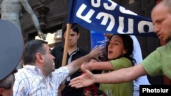 Armenia -- Environmentalists stage a protest action in Yerevan, 28Jul2010