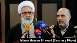 Attorney General, Mohammad Jafar Montazeri speaking with reporters, on Wednesday, March 13, 2019.