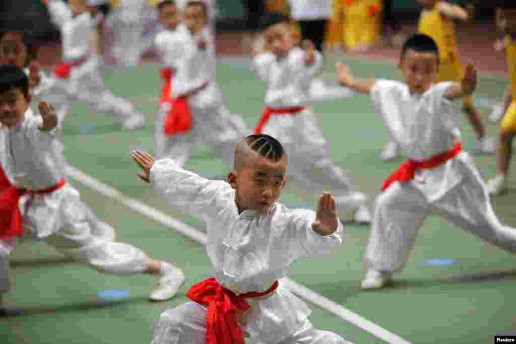 Children take part in a martial arts competition in Xi'an, Shaanxi Province, China. (Reuters)
