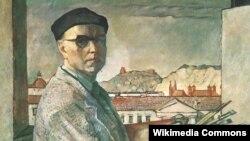 Людамір Сьляндзінскі. Аўтапартрэт на фоне Вільні, 1956