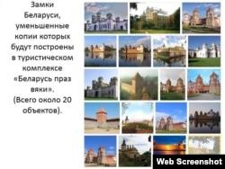 Зьменшаныя копіі аб'ектаў: «Замкі Беларусі» (20 аб'ектаў)