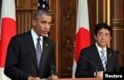 Барак Обама мен Жапония премьер-министрі Синдзо Абэ. 2014 жылдың наурызы.