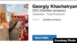Linkedin tarmog'ida Georgiy Xachaturyan ismli shaxs GeoMax rahbari sifatida qayd qilingan