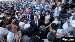 Armenia - Prime Minister Hovik Abrahamian meets with protesting workers of the Nairit chemical plant, Yerevan, 10Jul2014.