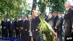 European leaders at a ceremony marking the 70th anniversary of the start of World War II at Westerplatte Monument in Gdansk on September 1.
