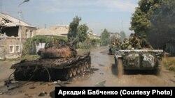 Колонна чеченского батальона «Восток» в Цхинвали
