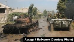 """Колонна чеченского батальона """"Восток"""" в Цхинвали"""