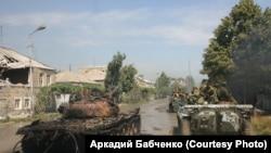 Колона чеченського батальйону «Восток» у Цхінвалі