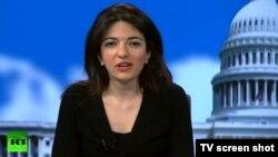 RT televiziyası. Reportyor Gayane Chichakyan