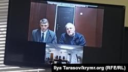 Эдем Бекиров во время заседания суда по видеоконференцсвязи. 10 января 2019 года