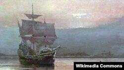 "Уильям Холсалл. ""Мэйфлауэр в гавани Плимута"" (1882)"