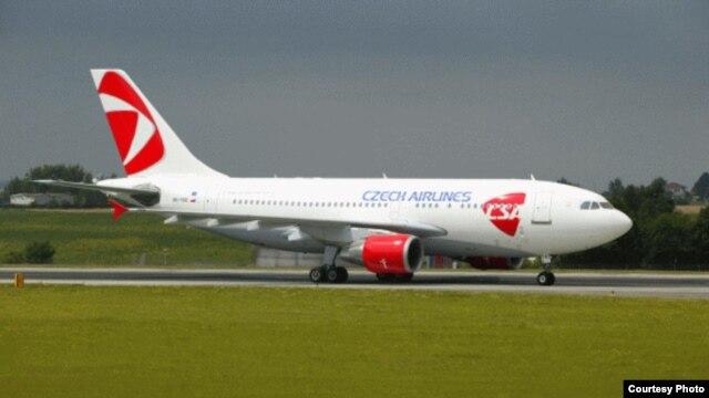 Czech Republic -- A ČSA Czech Airlines plane.