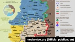 Ситуація в зоні бойових дій на Донбасі, 27 квітня 2019 року. Інфографіка Міноборони України