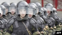 Russian riot police train in Moscow. The police forces face accusations of endemic corruption, including bribe-taking and falsifying cases.