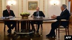 Президент Беларуси, России и Казахстана на заседании Высшего Евразийского экономического совета. Москва, 5 марта 2014 года.