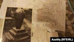 Мушинскийның Толстойга багышлап ясалган рәсеме һәм Илья Толстой кабер ташы фоторәсеме