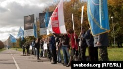 BELARUS - demonstration of trade unions in Minsk, at Bangalor Square