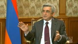 "Armenia - A video grab of President Serzh Sarkisian's interview with ""The Wall Street Journal,"" 9Nov2012 (www.wsj.com)."