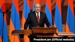Armen Sarkisian is sworn in as president in Yerevan on April 9.
