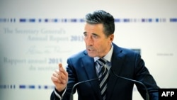 Secretary-General of the North Atlantic Treaty Organization (NATO) Anders Fogh Rasmussen delivers a speech during the release of NATO's annual report at the NATO headquarters in Brussels, January 27, 2014