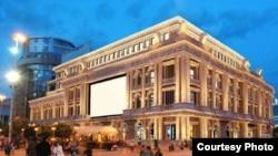 Идејно решение за изгледот на фасадата на некогашна НАМА во центарот на Скопје.