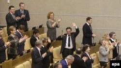 Члены Государственной Думы России после ратификации договора о присоединении Крыма. Москва, 20 марта 2014 года.