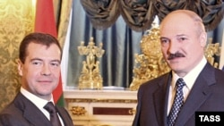 Brussels is keen to draw Alyaksandr Lukashenka (right) and Belarus away from the influence of Russia and President Dmitry Medvedev.