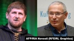 Chechen leader Ramzan Kadyrov (left) and exiled former Russian oligarch Mikhail Khodorkovsky