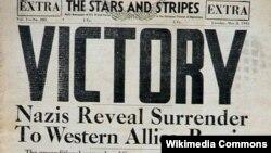 Газета Министерства обороны США Stars and Stripes, 8 мая 1945 года