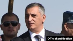 """Ashot Aharonian, a spokesperson for the Armenian Police, is attending command staff exercises at the """"Arzni"""" airport, 13Sep2014"""