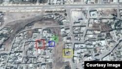 Места попаданий российских бомб в Телль-Бисе (Талбисе), вычисленные на основе видеосъемок и фотографий в интернете.