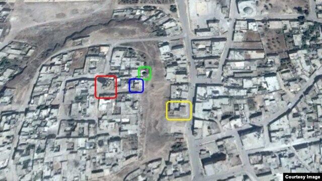 Места попаданий российских бомб в Телль-Бисе (Талбисе), вычисленные на основе видеосъемок и фотографий в интернете