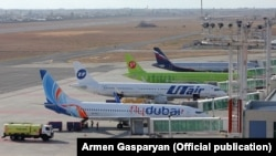 Armenia -- Passenger jets at the Zvartnots International airport in Yerevan.