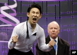 Denis Ten after seeing his scores for the men's free-skate program at the World Figure Skating Championships in Ontario, Canada, in 2013.